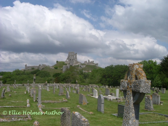 Corfe Castle from graveyard - Ellie Holmes Author